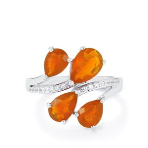 AA Strawberry, Orange American Fire Opal Ring with White Topaz in Sterling Silver 2.33cts