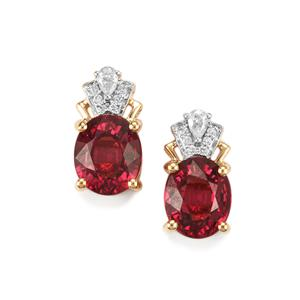 Malawi Garnet Earrings with Diamond in 18K Gold 4.10cts