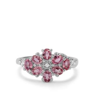 Sakaraha Pink Sapphire & White Topaz Sterling Silver Ring ATGW 1.97cts