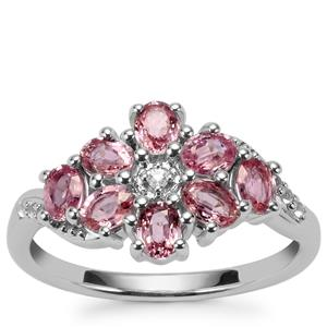 Sakaraha Pink Sapphire Ring with White Topaz in Sterling Silver 1.97cts