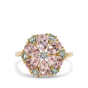 Aquaiba™ Beryl, Cherry Blossom™ Morganite & Diamond 9K Gold Tomas Rae Ring ATGW 2.44cts