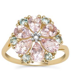 Aquaiba™ Beryl, Cherry Blossom™ Morganite Ring with Diamond in 9K Gold 2.44cts