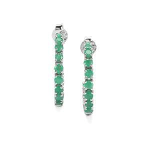 Carnaiba Brazilian Emerald Earrings in Sterling Silver 2cts