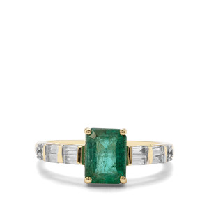 Zambian Emerald & White Zircon 9K Gold Ring ATGW 2cts