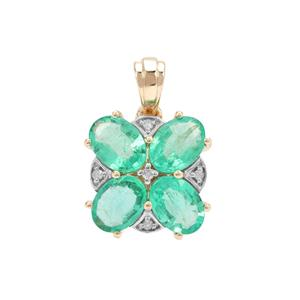 Ethiopian Emerald Pendant with Diamond in 9K Gold 2.29cts