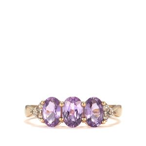 Natural Purple Sapphire & White Zircon 9K Gold Ring ATGW 1.65cts