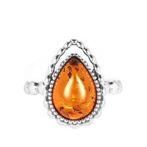 Baltic Cognac Amber Ring in Sterling Silver (13 x 9mm)