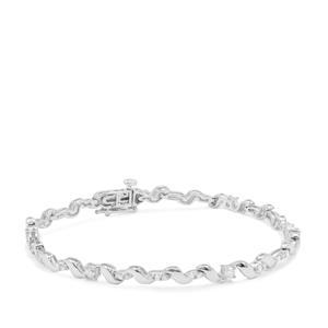 1ct Diamond Sterling Silver Bracelet