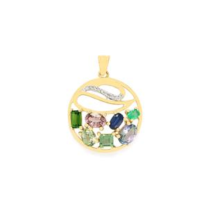 Harlequin Pendant with Diamond in 9K Gold 2.86cts