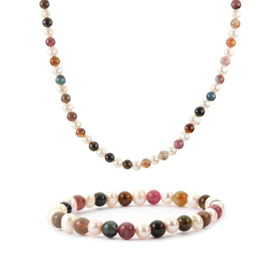 Multi-Colour Tourmaline Set of Necklace and Bracelet with Kaori Cultured Pearl