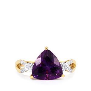 Moroccan Amethyst & Diamond 14K Gold Tomas Rae Ring ATGW 2.88cts
