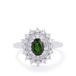 Chrome Diopside & White Topaz Sterling Silver Ring ATGW 1.59cts