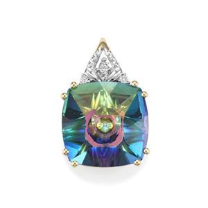 Lehrer QuasarCut Mystic Topaz Pendant with Diamond in 10K Gold 6.81cts