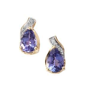 AA Tanzanite & Diamond 9K Gold Earrings ATGW 1.52cts