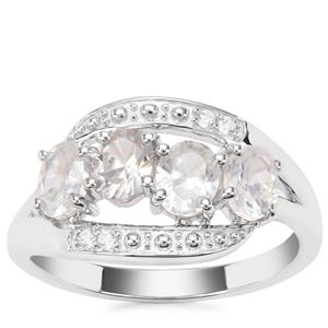 Singida Tanzanian Zircon Ring with White Zircon in Sterling Silver 2.04cts