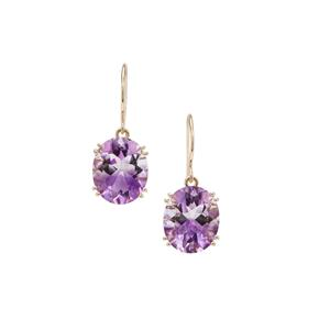 8.20ct Boudi Hourglass Amethyst 9K Gold Earrings