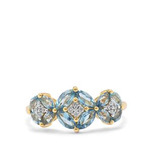 Nigerian Aquamarine Ring with White Zircon in 9K Gold 1.10cts