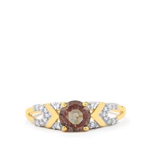 Colour Change Garnet Ring with Diamond in 18K Gold 1.23cts