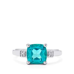 Batalha Topaz Ring with Diamond in Sterling Silver 2.74cts