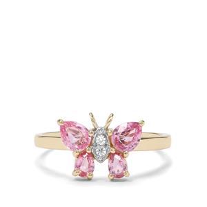 Sakaraha Pink Sapphire & White Zircon 9K Gold Ring ATGW 1.03cts