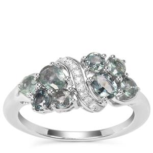 Natural Umba Sapphire Ring with White Zircon in Sterling Silver 1.64cts