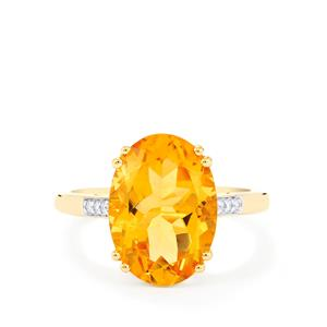 Rio Golden Citrine Ring with Diamond in 14k Gold 5.56cts