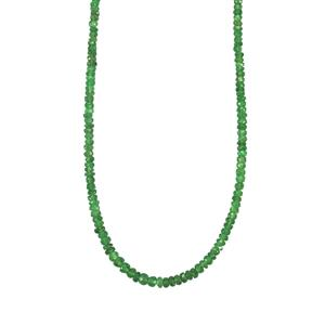 Tsavorite Garnet Graduated Bead Necklace in Sterling Silver 30cts