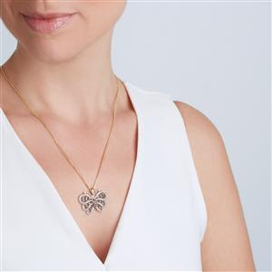 Champagne Diamond Pendant with White Diamond in 10K Gold 1.45ct