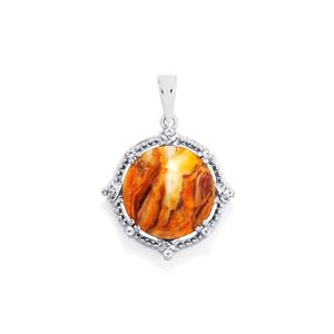 Lion's Paw Shell (15x15mm) & White Topaz Sterling Silver Pendant