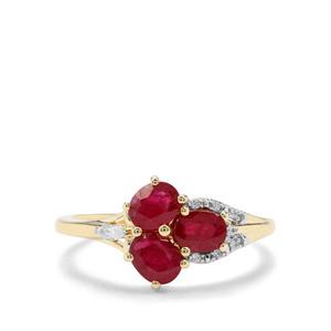 Sant Ruby & White Zircon 9K Gold Ring ATGW 1.35cts