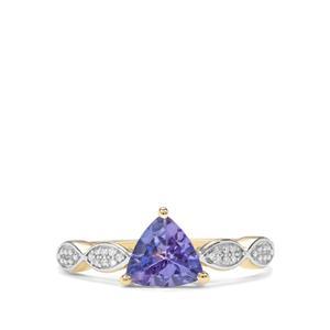 AA Tanzanite & Diamond 9K Gold Ring ATGW 0.97cts