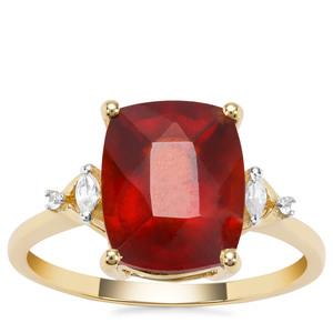 Gooseberry Grossular Garnet Ring with White Zircon in 9K Gold 4.88cts
