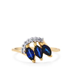 Sri Lankan Sapphire Ring with Ceylon White Sapphire in 9K Gold 0.95cts