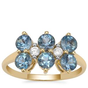 Nigerian Aquamarine Ring with White Zircon in 9K Gold 1.60cts