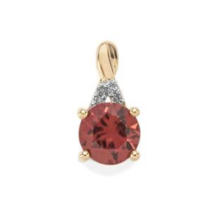Zanzibar Zircon Pendant with Diamond in 10k Gold 1.96cts