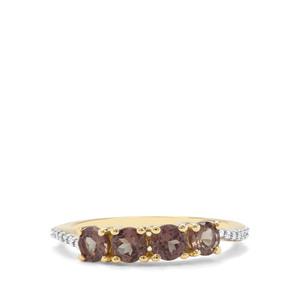 Bekily Colour Change Garnet & Diamond 9K Gold Ring ATGW 1.32cts