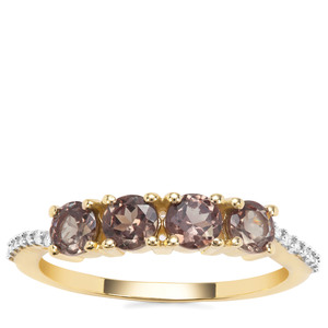 Bekily Colour Change Garnet Ring with White Diamond in 9K Gold 1.32cts