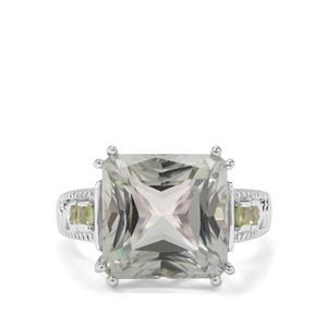 Prasiolite & Changbai Peridot Sterling Silver Ring ATGW 9.43cts