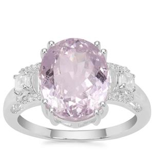 Brazilian Kunzite Ring with White Zircon in Sterling Silver 6.50cts
