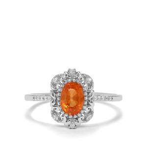 Mandarin Garnet & White Zircon Sterling Silver Ring ATGW 1.24cts