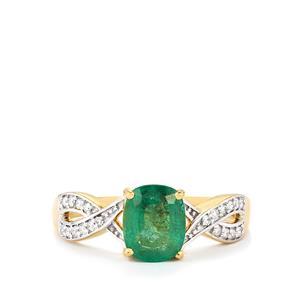 Zambian Emerald & Diamond 18K Gold Tomas Rae Ring MTGW 1.45cts