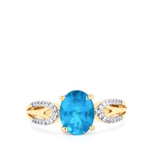 Neon Apatite Ring with Diamond in 14K Gold 1.69cts