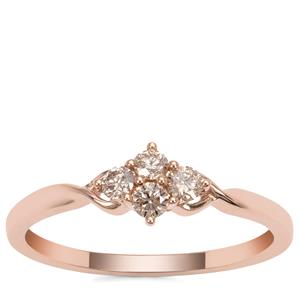 Champagne Argyle Diamond Ring in 9K Rose Gold 0.26ct