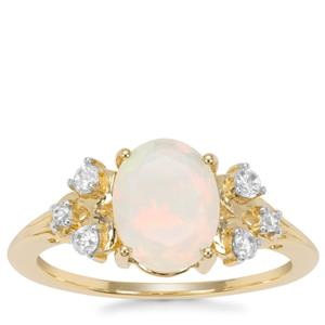 Ethiopian Opal Ring with White Zircon in 9K Gold 1.33cts