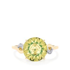 Lehrer KaleidosCut Green Gold Quartz, Zambian Emerald Ring with Diamond in 10K Gold 2.70cts