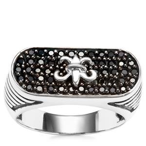 Black Spinel Ring in Sterling Silver 0.88ct