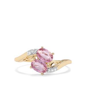 Sakaraha Pink Sapphire & Diamond 9K Gold Ring ATGW 1.04cts