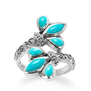 Samuel B Sleeping Beauty Turquoise Sterling Silver Floral Ring 1.46cts