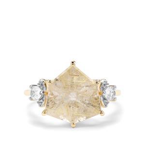 Alpine Cut Bahia Rutilite & White Zircon 9K Gold Ring ATGW 4.83cts