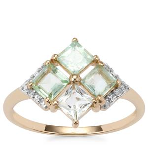 Paraiba Tourmaline Ring with Diamond in 10K Gold 1.23cts